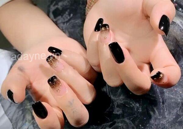 Đơn giản mẫu nail đẹp màu đen trơn mix ombre cực kỳ quyến rũ