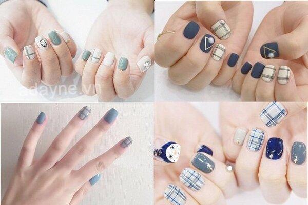 Đơn giản mẫu móng nail đẹp màu xanh đang làm mưa làm gió