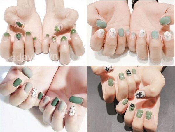 Tone xanh lá đơn giản mẫu nail đẹp nhưng sang chảnh