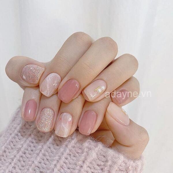 Mẫu nail đơn giản dễ thương kiểu Hàn Quốc tone hồng ngọt ngào móng kiểu thạch hot hit
