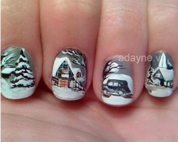 Mẫu móng tay noel tựa một tác phẩm nghệ thuật vẽ phong cảnh mùa đông lạ mắt
