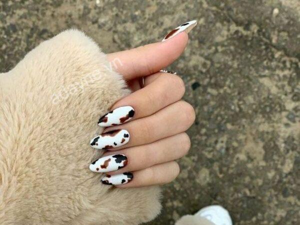 Cực kỳ ngầu với mẫu nail đẹp đơn giản họa tiết da báo