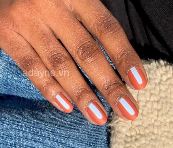 Mix mẫu nail đơn giản nhẹ nhàng màu cam với tông nude siêu xinh