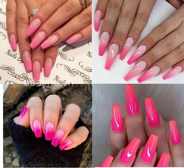 Mẫu nail đơn giản nhẹ nhàng hồng fuchsia móng dài hiệu ứng ombre đẹp xuất sắc