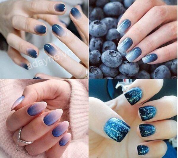 Mẫu nail màu xanh dương đẹp kiểu ombre làm vạn người mê đắm