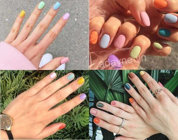 Mẫu nail nhẹ nhàng đi học nhiều màu sắc phong cách basic đơn giản