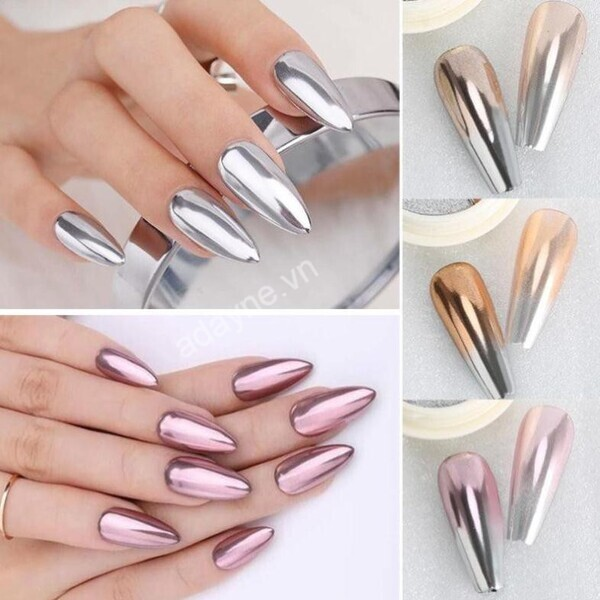 Màu nail metallic tráng gương khá mới lạ nhưng vô cùng được ưa chuộng