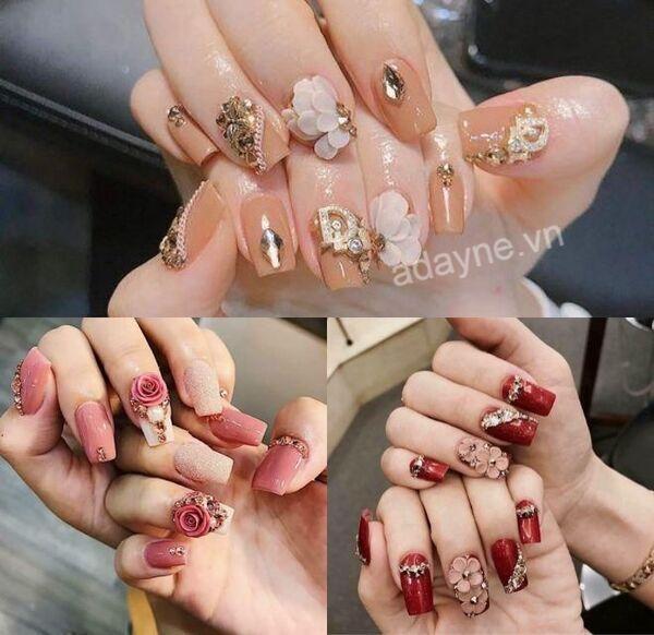 Mẫu nail vẽ hoa đơn giản đính đá đẹp nhất dành cho cô dâu