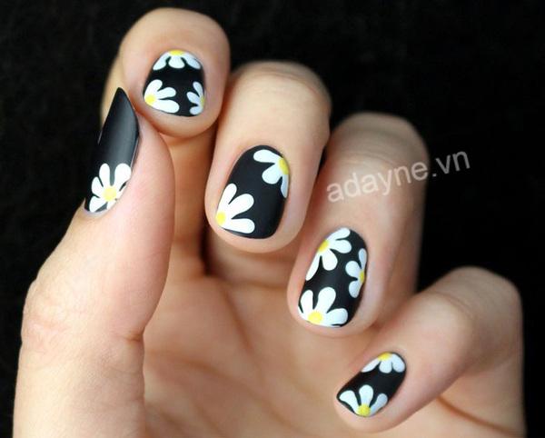 Mẫu nail vẽ hoa đơn giản họa tiết hoa cúc trên nền đen nổi bật
