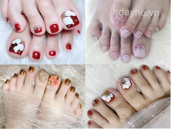 Mẫu nail vẽ hoa đơn giản đính đá móng chân sang-xịn-mịn