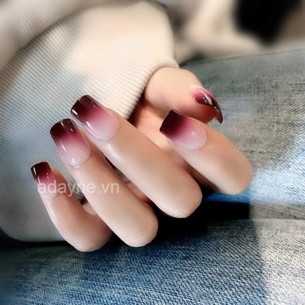 mẫu nail màu ombre đỏ đẹp ngày tết