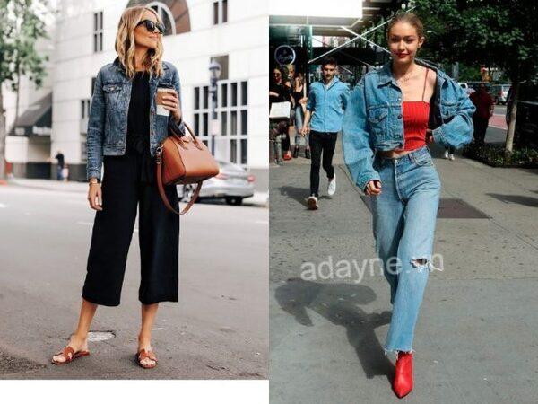 Phối đồ với áo khoác jean nữ lửng với áo thun ôm, chân váy và quần jean đều vô cùng xuất sắc