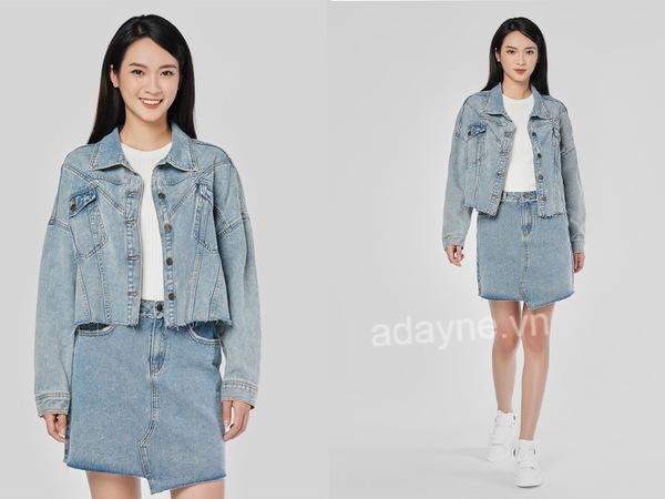 Cô bạn chọn cho mình một chiếc chân váy jean đầy quyến rũ và thời thượng bên cạnh áo khoác jean ton-sur-ton