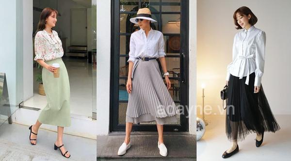 Phối đồ áo sơ mi trắng nữ với chân váy dài tinh tế, nhẹ nhàng