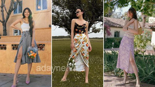 Bắt nhịp mùa hè với item phối đồ với chân váy xẻ tà vải voan họa tiết trái cây, hoa lá và áo hai dây khoe vẻ đẹp mảnh mai