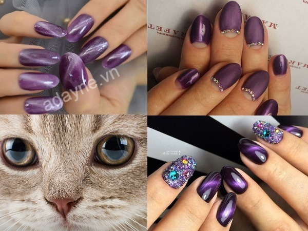 Mẫu nail mắt mèo tone tím làm tăng thêm sự quyến rũ, huyền bí của người phụ nữ