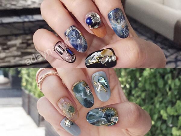 Mẫu nail oval sơn thạch đính đá và mảnh xà cừ bắt mắt