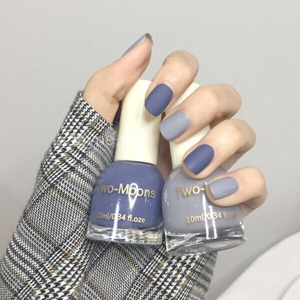 Vẽ móng tay đẹp kết hợp nhiều màu tông xanh kiểu sơn nhám sang, xịn, mịn