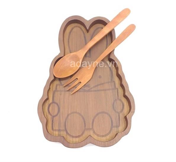 Khay gỗ ăn dặm cho bé hình thỏ ngộ nghĩnh